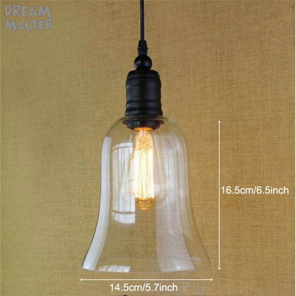 Cristal techo lámpara colgante luz vintage metal industrial Edison ...