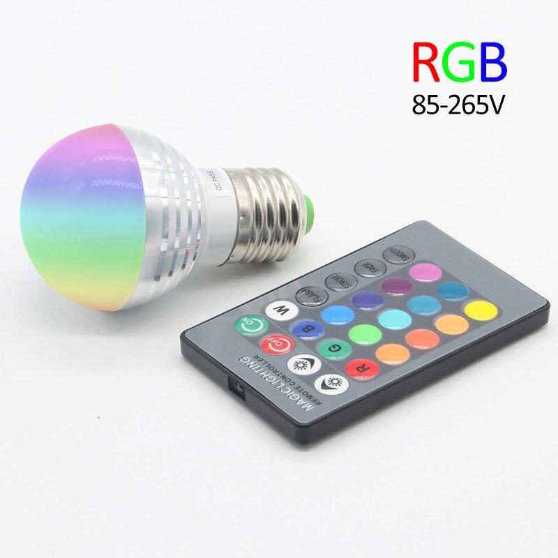 RGB LED Bulb E27 E14 3W Lampada De LED Lamp Light Bulb Spotlight Bulbs 16 Color Change Dimmable +24Keys Remote Controller e14 3w 90 240v multi color remote controlled rgb dimmable led cup led spot light aluminum alloy house decor lamp