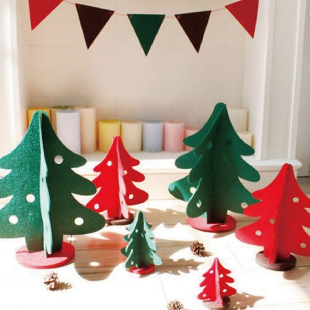 2016 new 3pcsset 3d mini felt christmas tree diy creative gift ornaments xmas decorations