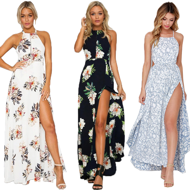 3 Styles Womens Boho Summer Split Maxi Dress Vestido Ladies Print Halter  Sexy Backless Beach Long Maxi Chiffon Dress Vestidos ad94478434d0