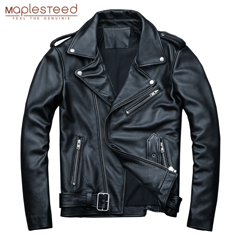 MAPLESTEED Classical Motocycle Jackets Men Leather Jacket 100% Natural Calf Skin Thick Moto Jacket Man Biker Coat Winter M192(China)