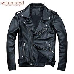 MAPLESTEED Klassische Motorrad Jacken Männer Leder Jacke 100% Natürliche Kalbsleder Starke Moto Jacke Mann Biker Mantel Winter M192