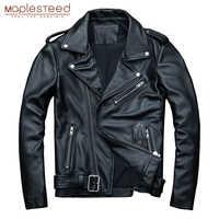 MAPLESTEED clásica de la motocicleta chaquetas de cuero de los hombres chaqueta 100% Natural de piel de becerro grueso Moto Chaqueta Hombre chaqueta de abrigo de invierno M192