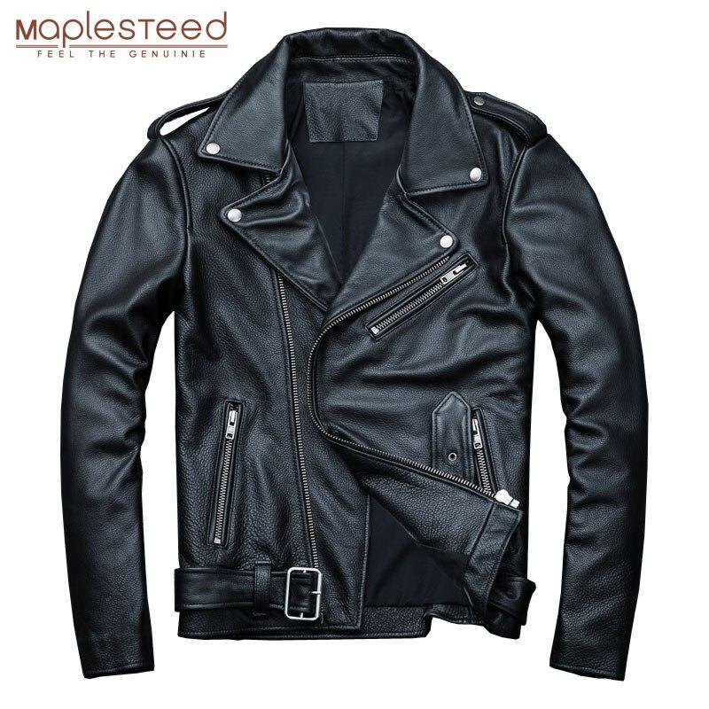 MAPLESTEED Classical Motocycle Jackets Men Leather Jacket 100% Natural Calf Skin Thick Moto Jacket Man Biker Coat Winter M192