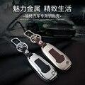 Genuine Leather Car Key Case Fob Cubierta Adapta para Ford Mondeo explorador Edge Kuga Enfoque Remoto Llavero De Aleación Llaveros Titular bolsa