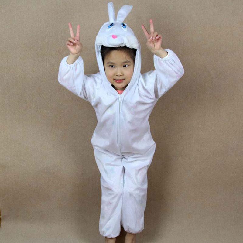 Umorden gyerekek gyerek lány fiú állati fehér nyúl ruha Cosplay - Jelmezek - Fénykép 4