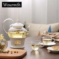 Wourmth керамика 15 шт. современная мода цветок чайный набор Европейский чайный набор стиль отапливаемо стеклянный чайник костяного фарфора ча...