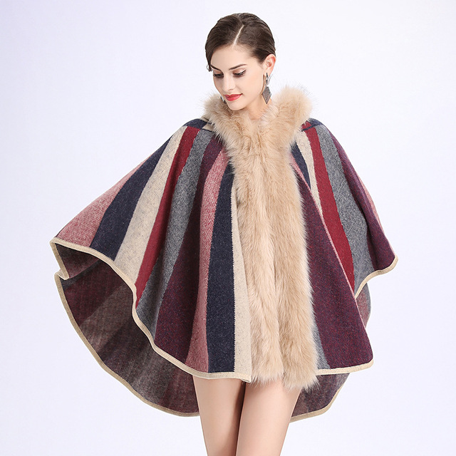 f6d1614de1d 2017 Plus Size Winter Fox Fur Collar Hooded Women Sweater Coat Stripe  Cardigan Female Sleeveless Knit Turtleneck Poncho PC28732