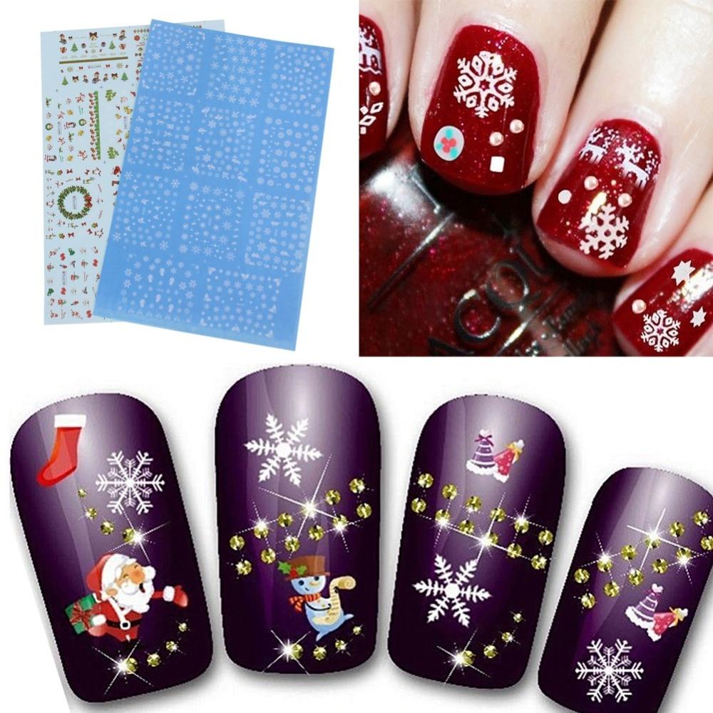 Christmas Nail Art With Gel Polish: Christmas Nail Art Stickers Santa Reindeer Snowflakes