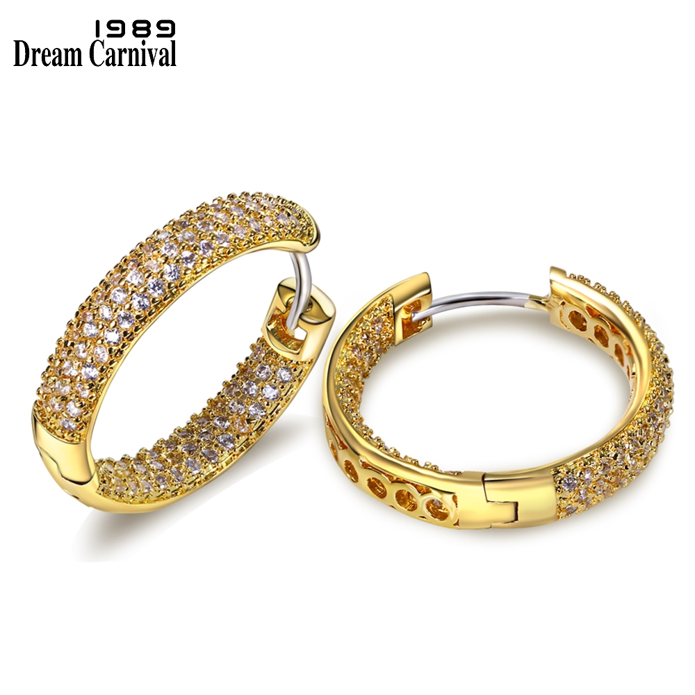 DreamCarnival1989 Premium Quality Fashion Hoop Earrings for Women Rhodium or Gold-color Cubic Zirconia Aretes De Aro SE04633