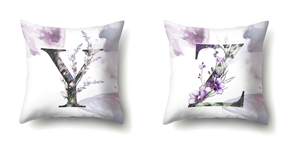 g Nordic Violet Letters Cushion Cover Printed Flowers Throw Pillow Covers Decorative Purple Farmhouse Decor Plants Home Decoration