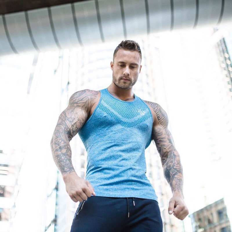 2019 Summer fashion gold gym brand bodybuilding tank top tank top muscle men/'s