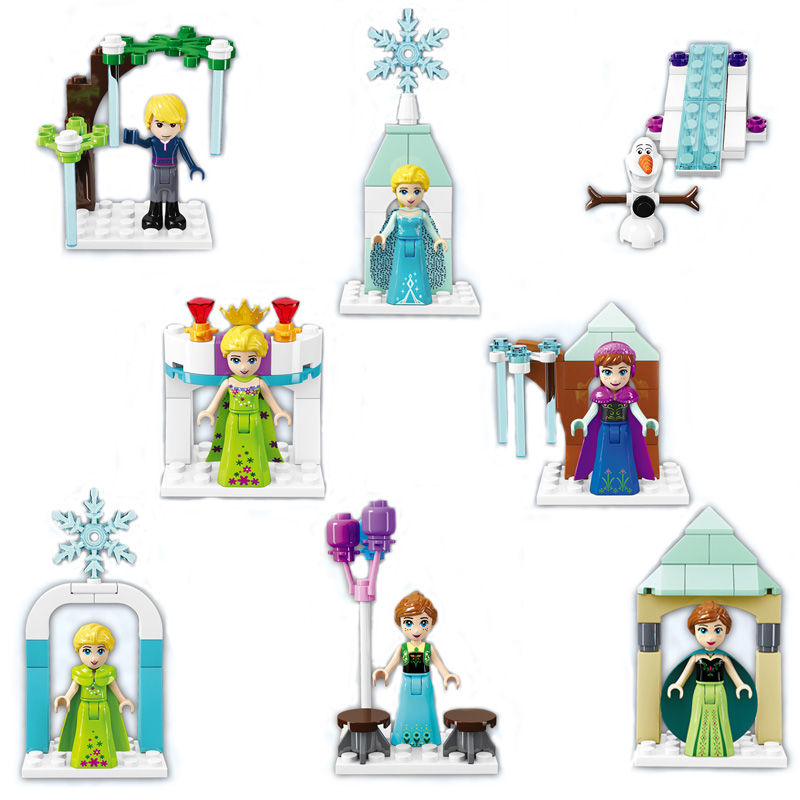 Newest Mini Anna Elsa Queen Kristoff Olaf Figures Princess Ice Castle Model Building Blocks Bricks Girl's Educational Toy