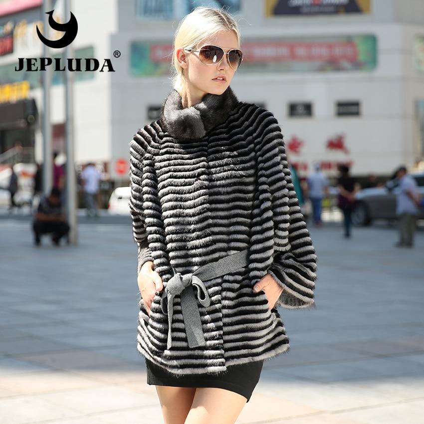 JEPLUDA New Luxurious Women Natural Real Mink Fur Coat Bat Style Soft Warm Real Fur Coat Casual Loose Type Women Mink Fur Jacket