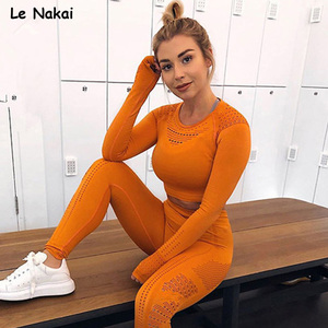 Image 2 - Flawless knit seamless yoga top fitness long sleeve women shirts workout gym crop top breathable sport shirt women