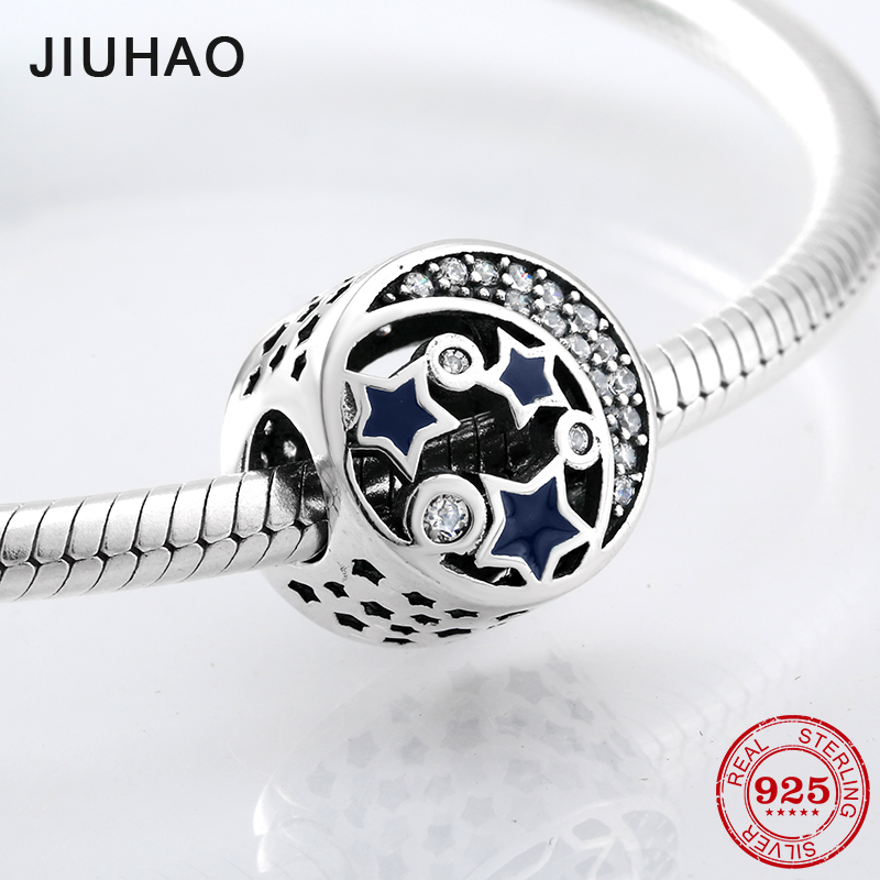 100% 925 Sterling Silver Openwork Moon and Star Goodnight Charm Beads Fit Original Pandora Bracelet Luxury DIY Jewelry