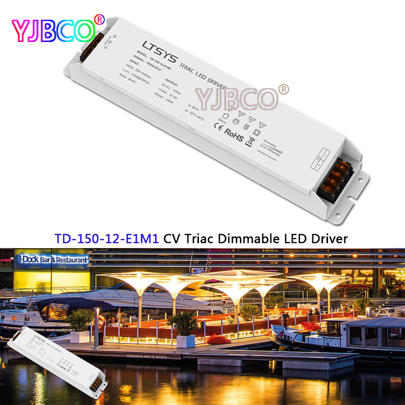 New intelligent led Driver TD-150-12-E1M1;150W 12VDC 12.5A constant voltage Triac Dimmable LED Driver Triac Push Dim купить в Москве 2019