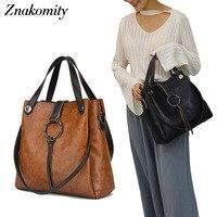 Znakomity Handbags women's genuine leather Shoulder bag women bag vintage big Large Black brown tote cross hand bags for women