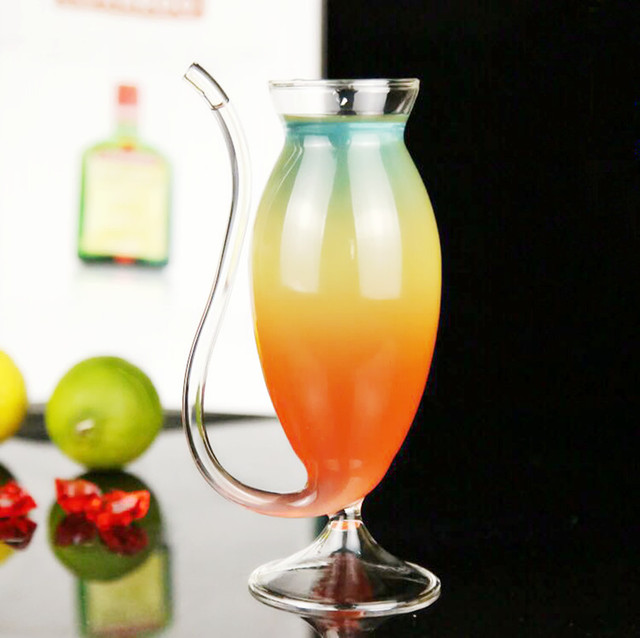2pcs 150ML Creative goblet glass mug with straw for cold drink Home use and Party Night bar drinking Wine Glass Juice glass