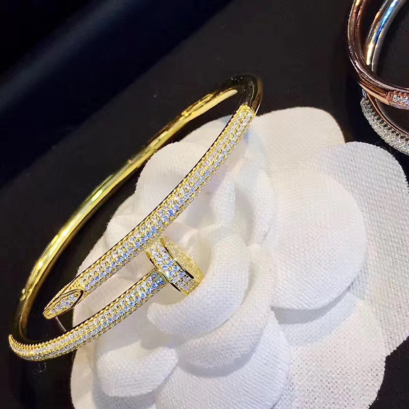 7Sanyu Fashion hot brand 925 Sterling Silver Jewelry For Women Full Stone Nail Bangle Gold Nail