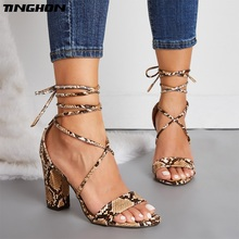 TINGHON NEW Women PU Retro Sandals Serpentine Square High Heel Round Toe Cross-Tied Lace-Up Cover White Apricot Size 35-42