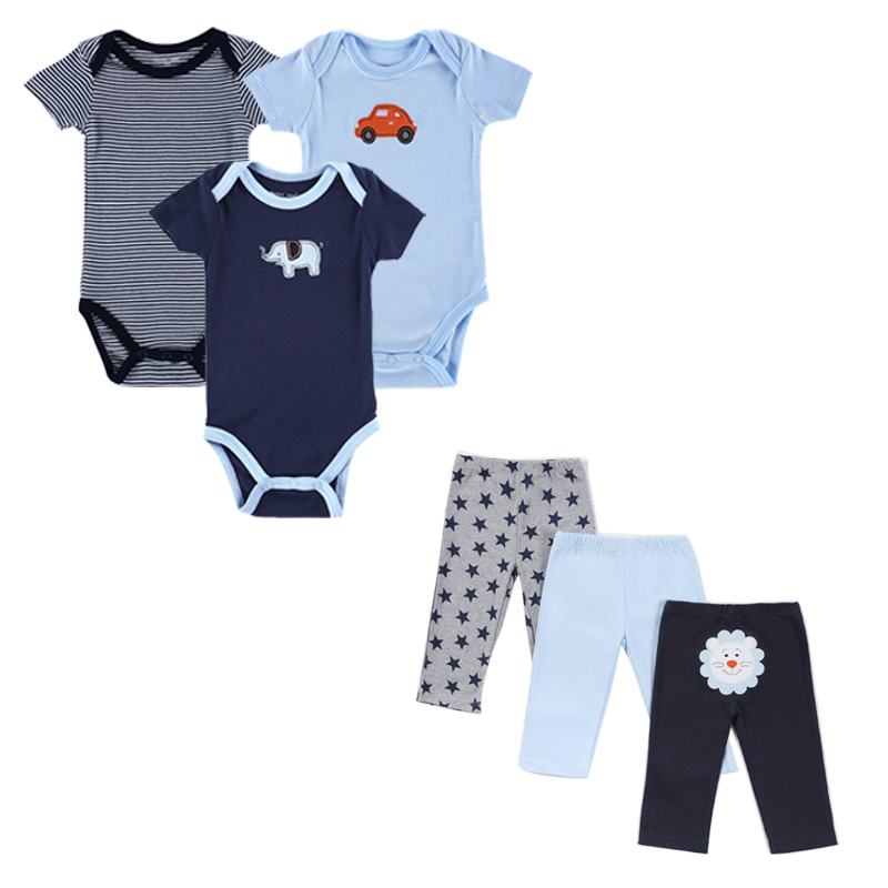 2016 Monther Nest Brand Baby Boy Clothes 6 Pcs/lot Infant Jumpsuit Short Sleeve Summer Baby Clothing Set Summer Boy Girl thumbnail