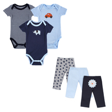 2017 Monther Nest Brand Baby Boy Clothes 6 Pcs/lot Infant Jumpsuit Short Sleeve Summer Baby Clothing Set Summer Boy Girl