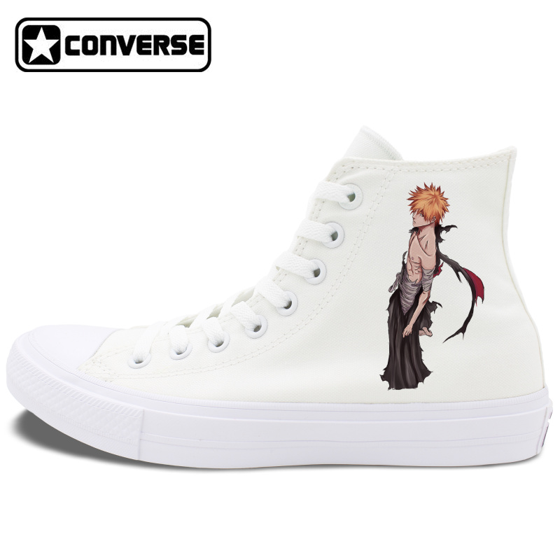 Prix pour Converse Chuck Taylor II All Star Chaussures Anime Bleack Design Noir Blanc Toile Sneakers Unisexe High Top Planche À Roulettes Chaussures