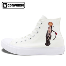 Converse Chuck Taylor II All Star Shoes Anime Bleack Design Black White Canvas Sneakers Unisex High Top Skateboarding Shoes