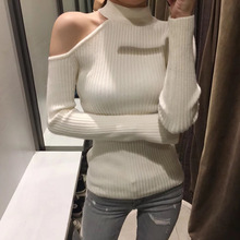 Gkfnmt Sexy off shoulder knitted sweater Women elegant solid skinny slim pullover and 2018 Autumn winter jumpers Pink