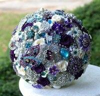 Luxurious Purple Jewelry Blue Bride Bouquet Wedding Bouquet Bridesmaid Rhinestone Brooch Bouquet Brooch Accessories