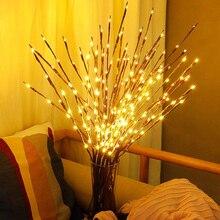20 лампочек, светодиодный светильник на ветке ивы, лампа, натуральная высокая ваза, наполнитель, ивовая ветка, светящаяся ветка, рождественские, свадебные декоративные огни