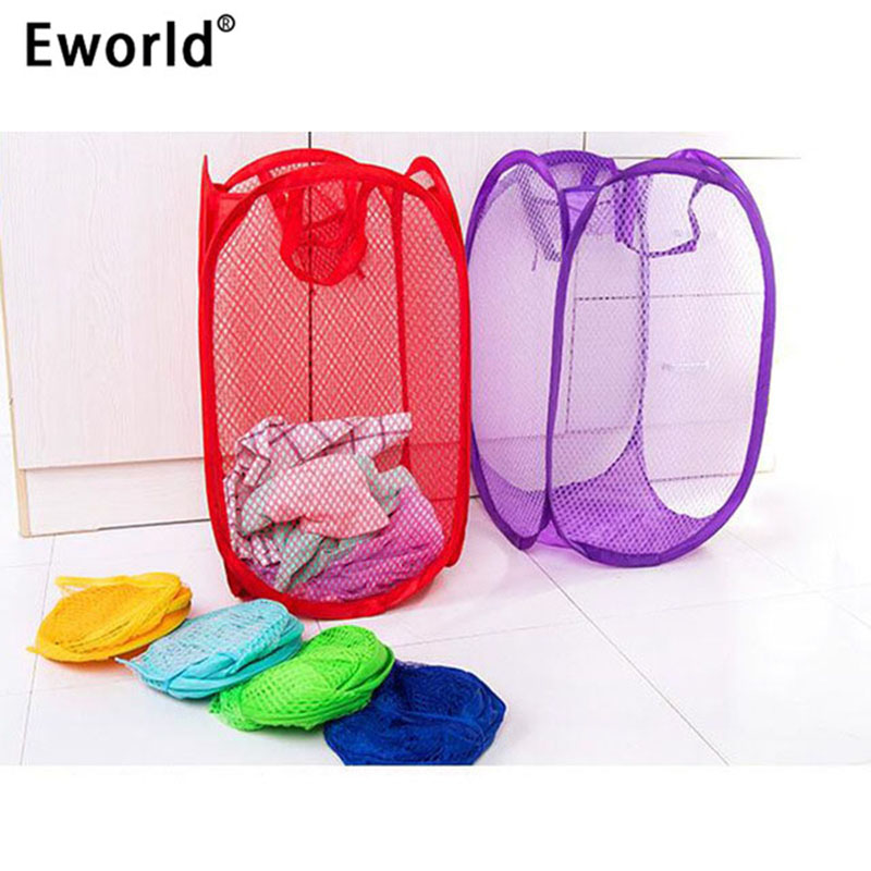 Eworld Foldable Nylon Mesh Fabric Laundry Basket Storage Toy Orgnizer Washing Basket Dirty Clothes Sundries Basket Candy Color