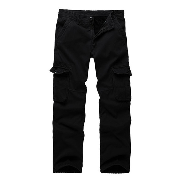 Good Quality 2017 Fashion Mens Thick Warm Fleece Lined Multi Pockets Cotton Polyester Cargo Pants Plus Size Cargo Military Pants