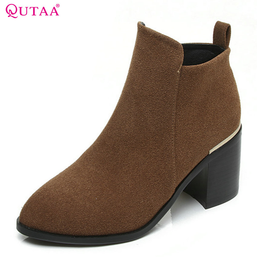 QUTAA 2018 Women Ankle Boots Zipper All Match Square High Heel Round Toe Westrn Style Spring and Autumn Women Boots Size 33-43 nemaone 2018 women ankle boots square high heel pointed toe zipper fashion all match spring and autumn ladies boots