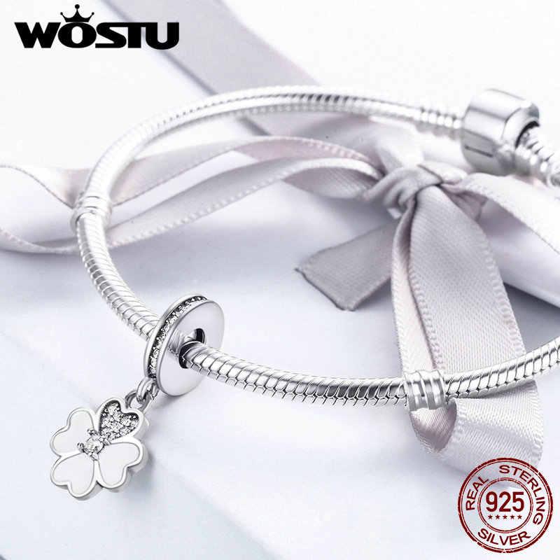WOSTU 925 סטרלינג כסף אהבה של תלתן להתנדנד ביד Fit מקורי WST קסם צמיד תליון שרשרת תכשיטי מתנה DXC259
