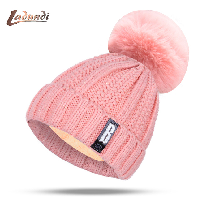ecffe9f4aed 2018 New Pom Poms Women s Winter Hat Fashion Solid Plus Fleece Warm Hat  Knitted Hat Hooded