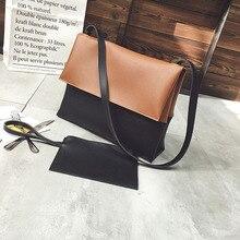 LIXUN Fashion Ladies Soft Leather Crossbody Bags Girls Fold Cover Handbags Women Patchwork Messenger Shoulder Bags Bolsos Mujer