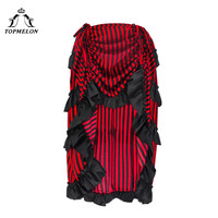 TOPMELON Gothic Skirt Women's New Fashion Steampunk Skirts High Low Stripe Pattern Costume Dance Party Performance Skirt