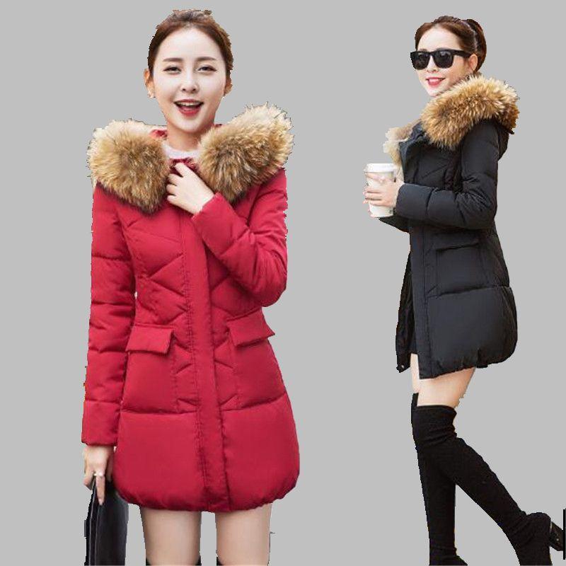 Kış 2016 Kadın Coat Orta uzun kişinin ahlak Pamuk-yastıklı ceket Kapüşonlu Kürk yaka Gösterisi ince Aşağı ceket G1525