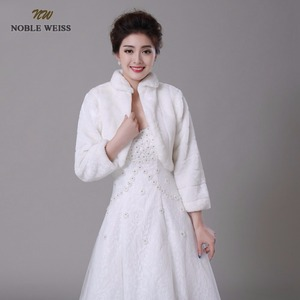 Image 4 - NOBLE WEISS Discount long sleeve wedding jacket Bride cape winter bride fur shawl bolero women wedding coat ivory color 0847