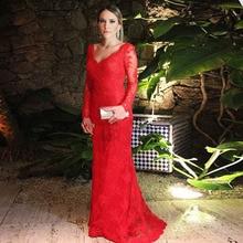 Meerjungfrau v-ausschnitt Appliques robe de soiree Red Party Kleid 2016 vestido de festa Backless Langarm Prom kleider