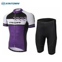 XINTOWN Skull Purple Men Team Cycling Jersey Bibs Shorts Set Mtb Bicycle Clothing Full Set Ropa