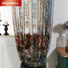 Luxury Embroidered Voile Curtain For Window Sheer Curtains Living Room Bedroom Blue Europe Tulle