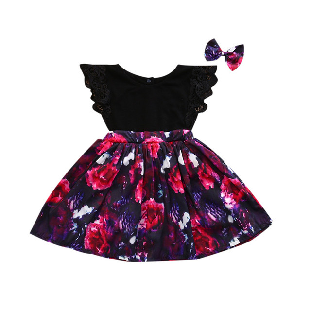 40ccb2c6353 Newborn Baby Girls summer clothes Little Sister Floral print Bodysuit Big  Sister Dresses Bowknot Headband 2pc cotton casual set