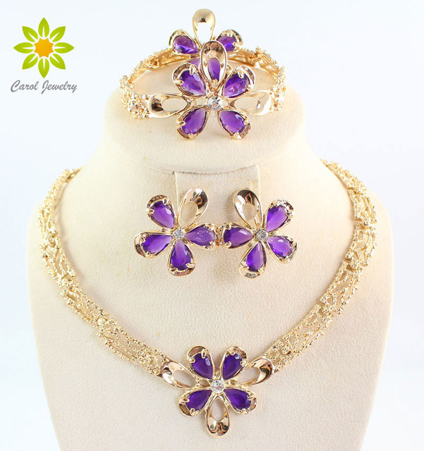 New Style Amazing Purple Zircon Jewelry Set High Quality Gold Plated Flower Jewellery African Wedding Jewelry Sets