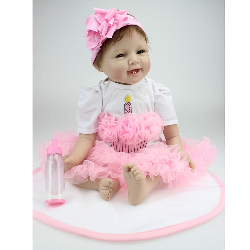 55cm Silicone Vinyl Dolls Playmate Gift Interactive Dolls For Doll Bebe Reborn Handmade Realistic Cotton Body Play House Gifts