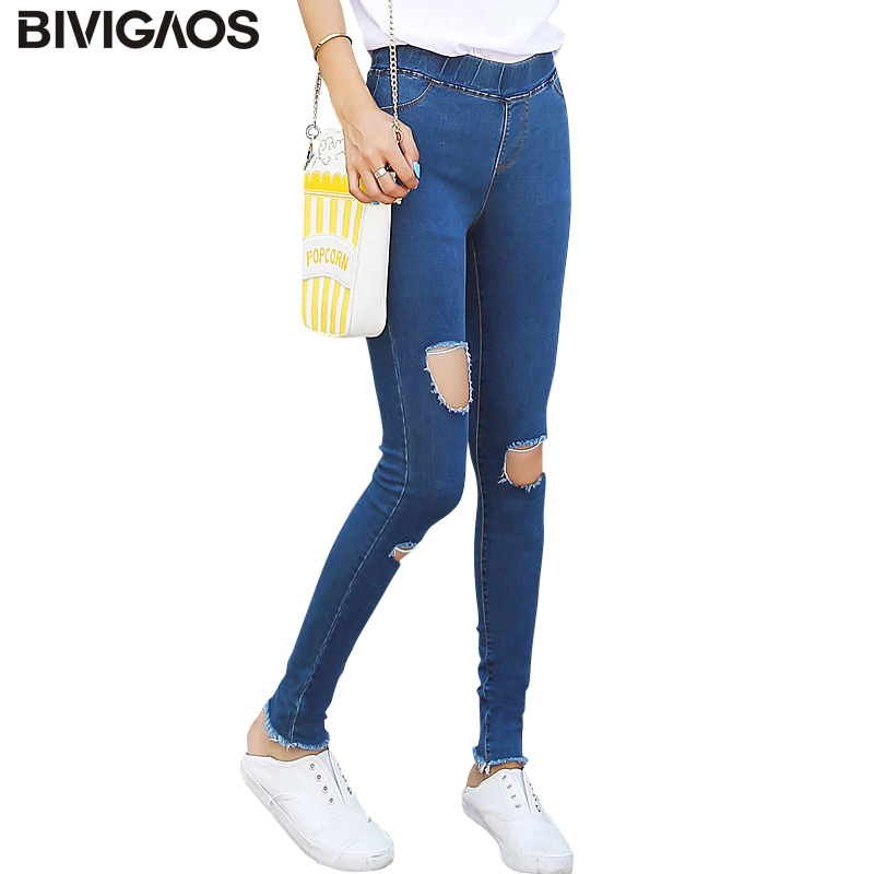 BIVIGAOS Spring Big Hole Elastic Jeans Leggings Jean Trousers Denim Jeans Womens Slim Skinny Pencil Pants Ripped Jeans For Women plus size women jeans trousers denim pencil pants spring autumn big elastic mid waist empire leggings ladies ripped jeans 988