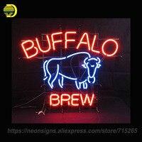 NEON ZNAK Dla Buffalo Piwny Znak krowa Udekorować szklana rurka pokój Handlowe Beer Bar PUB Ręcznie Unique Art Lampy Nocne światło
