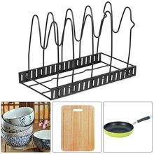 Adjustable Kitchen Storage Rack Pan Pot Lids Cutting Board Folding Organizer Stand Pan Rack Organizer(China)